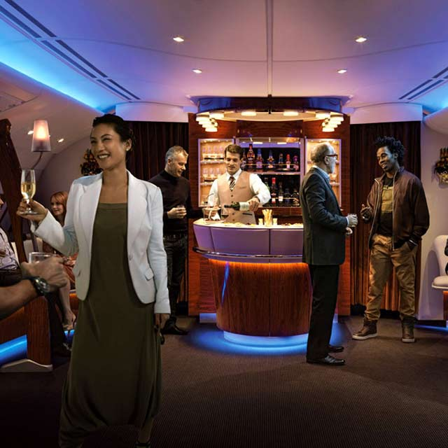 El Bar privado del avión A380 Emirates